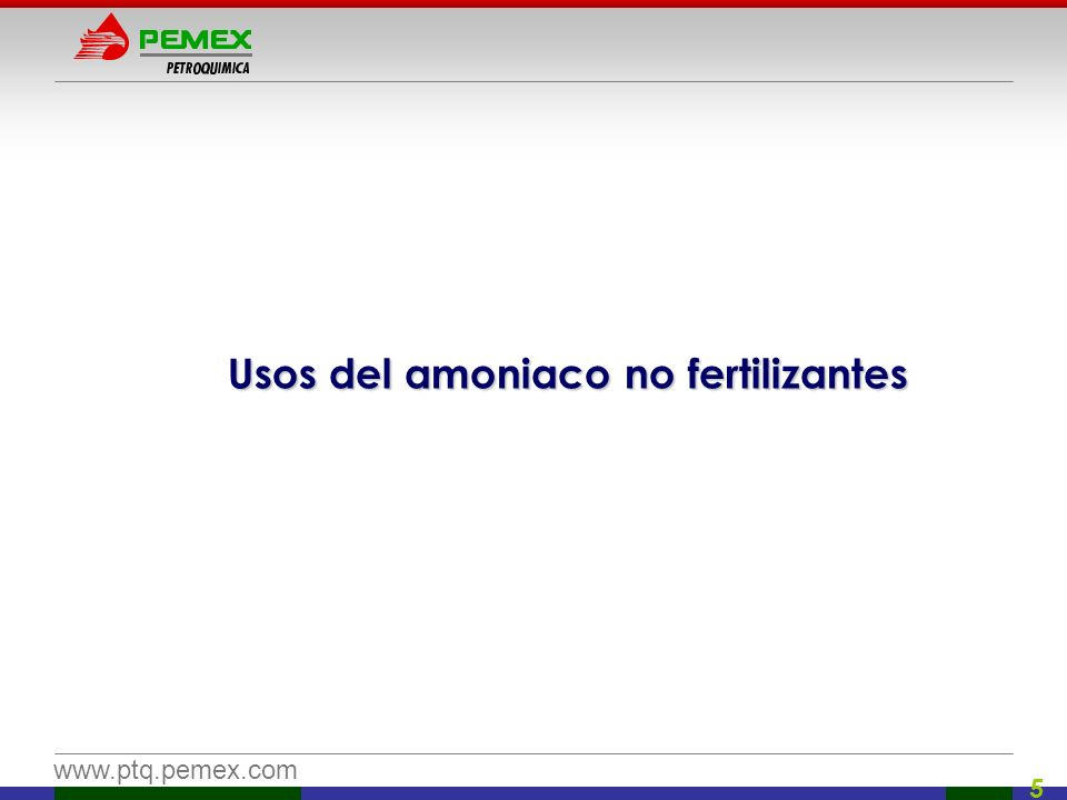 www.ptq.pemex.com 16 Sulfato de Amonio Amoniaco Ácido Sulfúrico Sulfato de Amonio 21% N Además de fertilizante también se agrega agua y se utiliza para producir insecticidas, herbicidas y fungicidas N – P – K 21 – 0 – 0