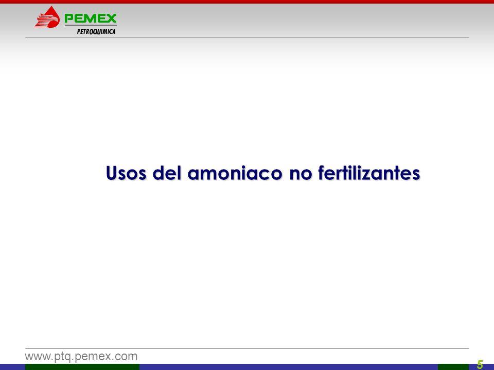 www.ptq.pemex.com 6 Acrilonitrilo: Fibras acrílicas Amoniaco Acrilonitrilo Materia prima para producir fibras acrílicas Propileno