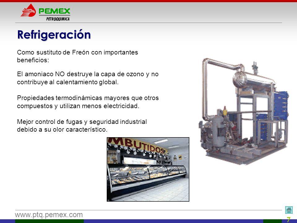 www.ptq.pemex.com 7 Refrigeración Como sustituto de Freón con importantes beneficios: El amoniaco NO destruye la capa de ozono y no contribuye al cale