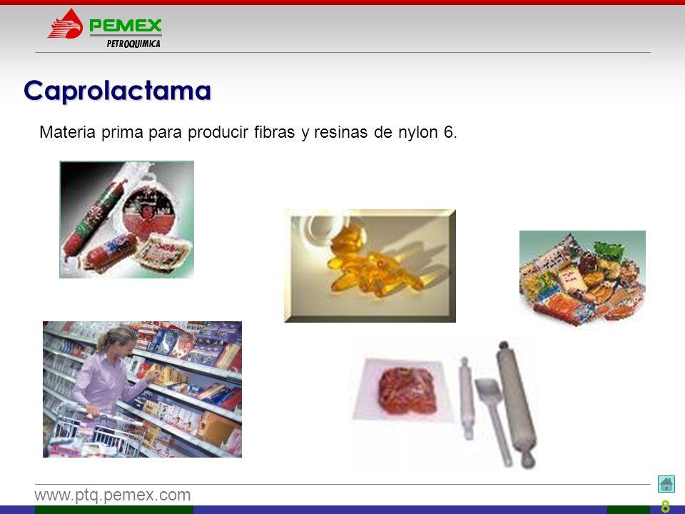 www.ptq.pemex.com 8 Caprolactama Materia prima para producir fibras y resinas de nylon 6.