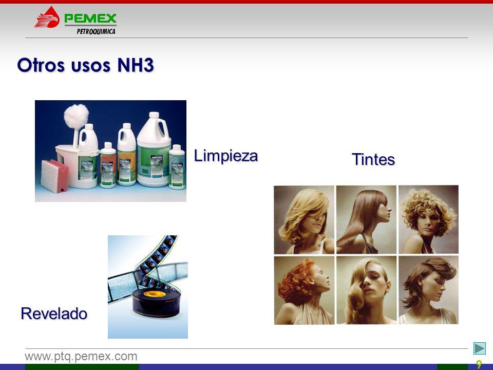 www.ptq.pemex.com 9 Otros usos NH3 Limpieza Tintes Revelado