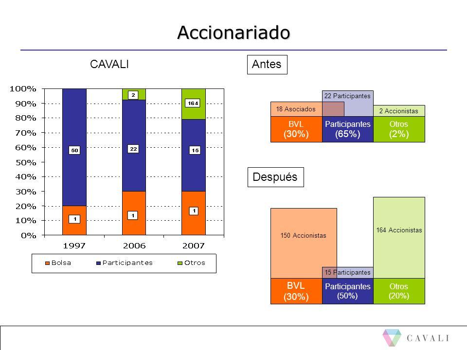 Accionariado CAVALI BVL (30%) 18 Asociados Participantes (65%) 22 Participantes Otros (2%) Antes Después BVL (30%) 150 Accionistas Participantes (50%)