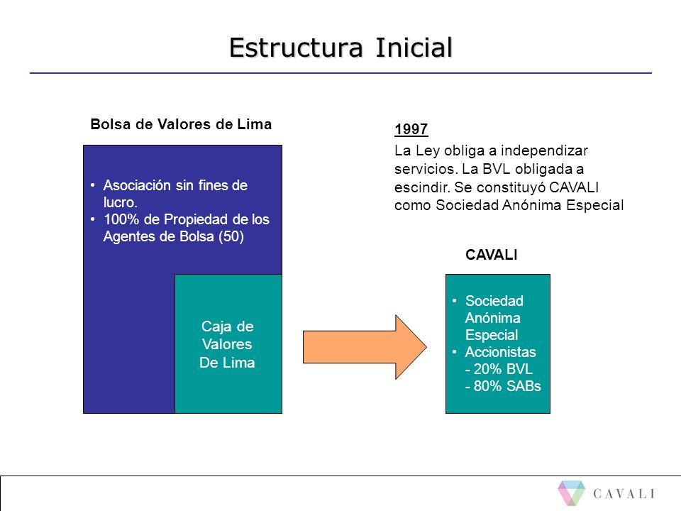 Estructura Inicial Asociación sin fines de lucro. 100% de Propiedad de los Agentes de Bolsa (50) Caja de Valores De Lima 1997 La Ley obliga a independ