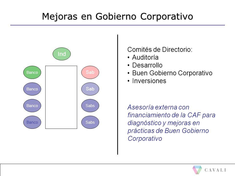 Mejoras en Gobierno Corporativo Banco Ind Sab Sabs Comités de Directorio: Auditoría Desarrollo Buen Gobierno Corporativo Inversiones Asesoría externa