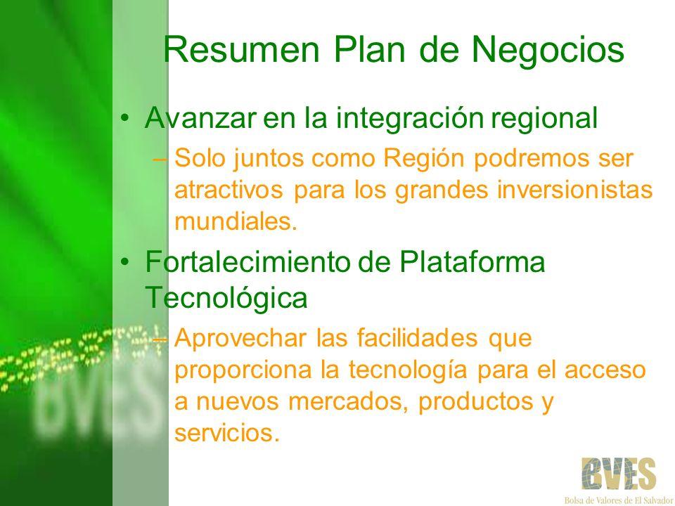 Resumen Plan de Negocios Avanzar en la integración regional –Solo juntos como Región podremos ser atractivos para los grandes inversionistas mundiales