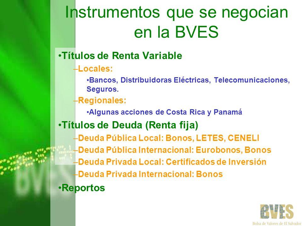 Instrumentos que se negocian en la BVES Títulos de Renta Variable –Locales: Bancos, Distribuidoras Eléctricas, Telecomunicaciones, Seguros. –Regionale