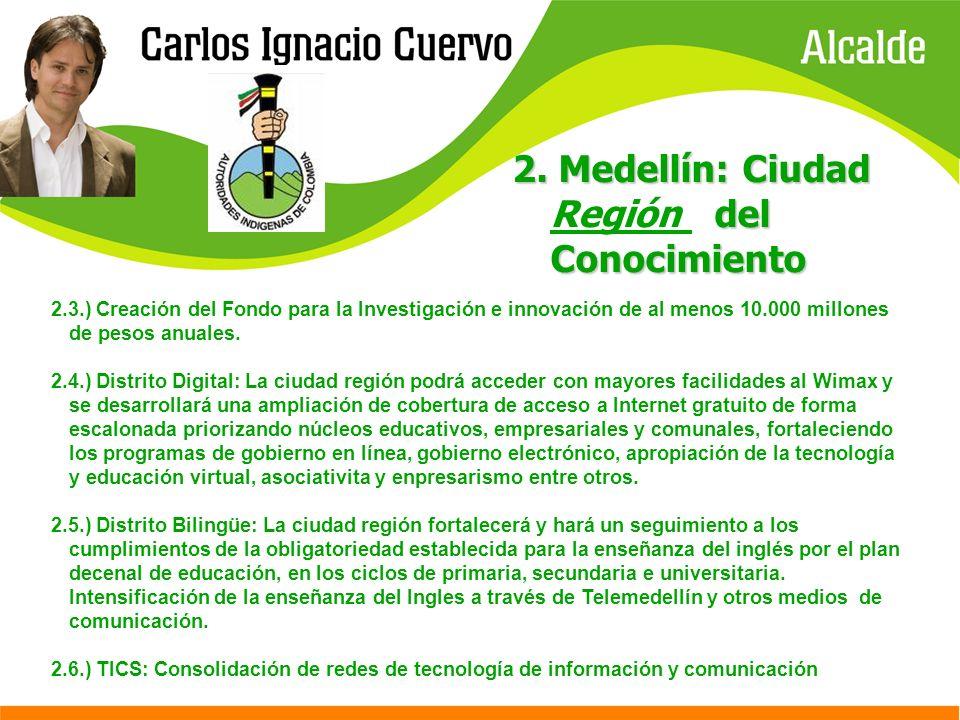 2. Medellín: Ciudad del Conocimiento 2. Medellín: Ciudad Región del Conocimiento 2.3.) Creación del Fondo para la Investigación e innovación de al men