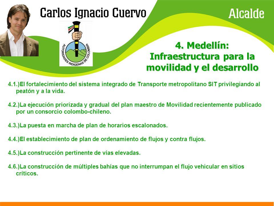 4. Medellín: Infraestructura para la movilidad y el desarrollo 4.1.)El fortalecimiento del sistema integrado de Transporte metropolitano SIT privilegi