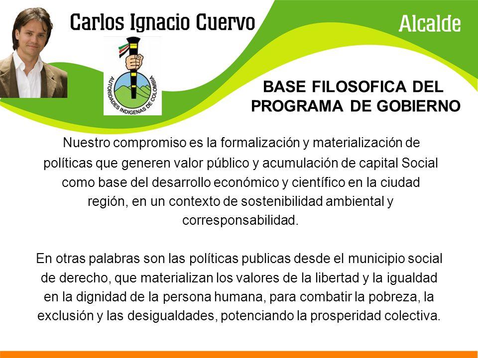 BASE FILOSOFICA DEL PROGRAMA DE GOBIERNO Nuestro compromiso es la formalización y materialización de políticas que generen valor público y acumulación