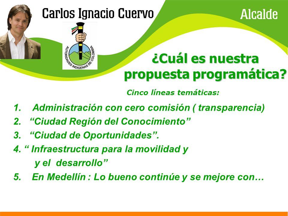 ¿Cuál es nuestra propuesta programática? Cinco líneas temáticas: 1.Administración con cero comisión ( transparencia) 2. Ciudad Región del Conocimiento