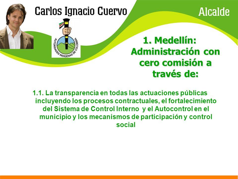 1. Medellín: Administración con cero comisión a través de: 1.1. La transparencia en todas las actuaciones públicas incluyendo los procesos contractual