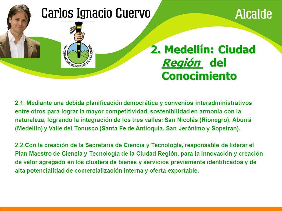 2. Medellín: Ciudad del Conocimiento 2. Medellín: Ciudad Región del Conocimiento 2.1. Mediante una debida planificación democrática y convenios intera
