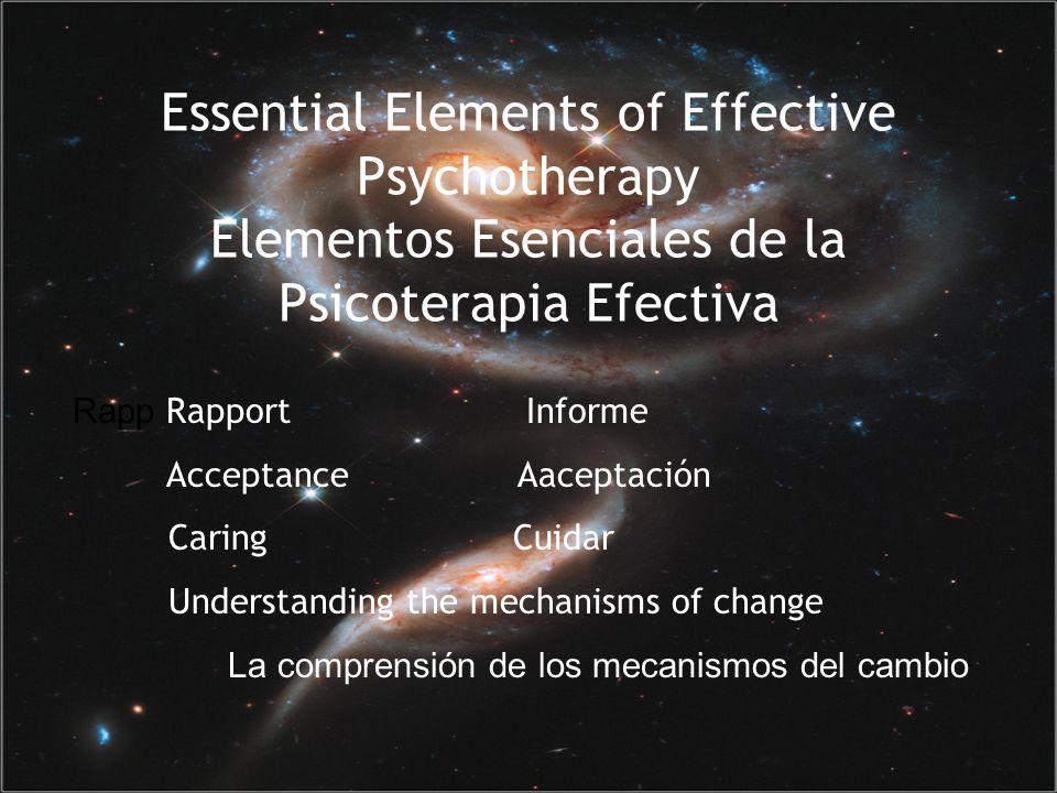 Essential Elements of Effective Psychotherapy Elementos Esenciales de la Psicoterapia Efectiva Rapp Rapport Informe Acceptance Aaceptación Caring Cuidar Understanding the mechanisms of change La comprensión de los mecanismos del cambio