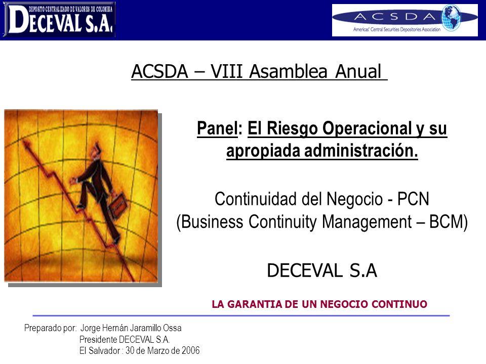 Peace of Mind Panel: El Riesgo Operacional y su apropiada administración. Continuidad del Negocio - PCN (Business Continuity Management – BCM) DECEVAL