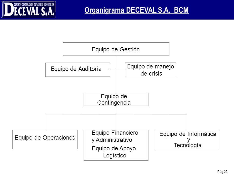 Pág 22 Equipo de Auditoria Equipo de Operaciones Equipo Financiero y Administrativo Equipo de Apoyo Logístico Equipo de Informática y Tecnología Equip