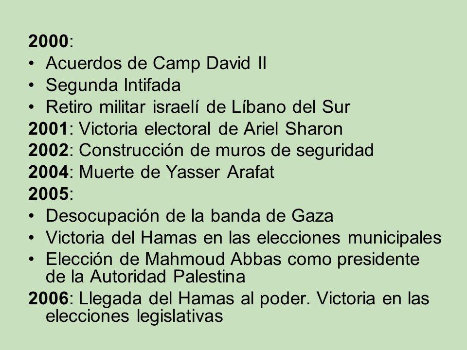 2000: Acuerdos de Camp David II Segunda Intifada Retiro militar israelí de Líbano del Sur 2001: Victoria electoral de Ariel Sharon 2002: Construcción