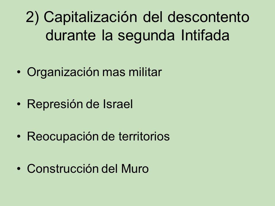 2) Capitalización del descontento durante la segunda Intifada Organización mas militar Represión de Israel Reocupación de territorios Construcción del