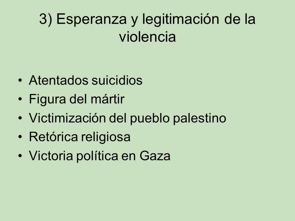 3) Esperanza y legitimación de la violencia Atentados suicidios Figura del mártir Victimización del pueblo palestino Retórica religiosa Victoria polít