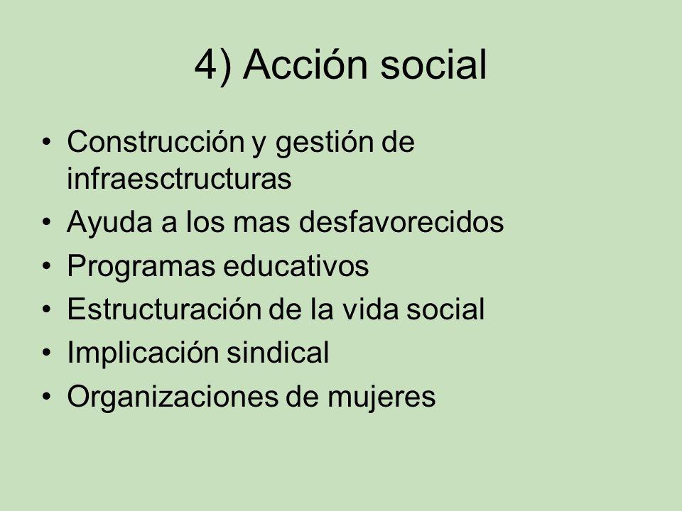 4) Acción social Construcción y gestión de infraesctructuras Ayuda a los mas desfavorecidos Programas educativos Estructuración de la vida social Impl