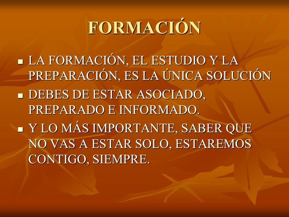 FORMACIÓN LA FORMACIÓN, EL ESTUDIO Y LA PREPARACIÓN, ES LA ÚNICA SOLUCIÓN LA FORMACIÓN, EL ESTUDIO Y LA PREPARACIÓN, ES LA ÚNICA SOLUCIÓN DEBES DE ESTAR ASOCIADO, PREPARADO E INFORMADO.