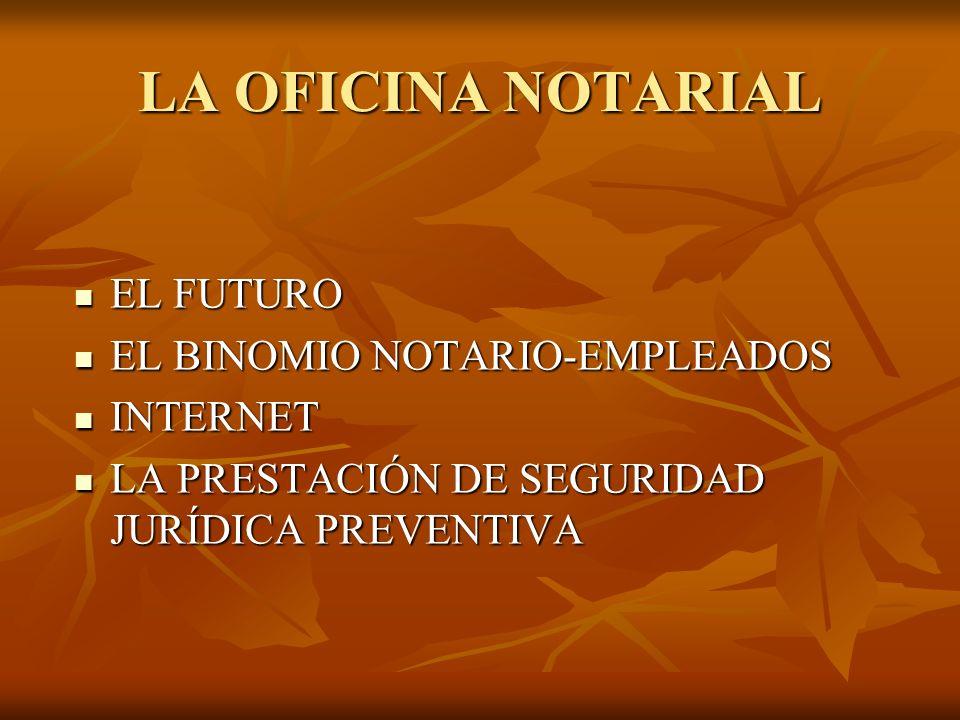 LA OFICINA NOTARIAL EL FUTURO EL FUTURO EL BINOMIO NOTARIO-EMPLEADOS EL BINOMIO NOTARIO-EMPLEADOS INTERNET INTERNET LA PRESTACIÓN DE SEGURIDAD JURÍDICA PREVENTIVA LA PRESTACIÓN DE SEGURIDAD JURÍDICA PREVENTIVA