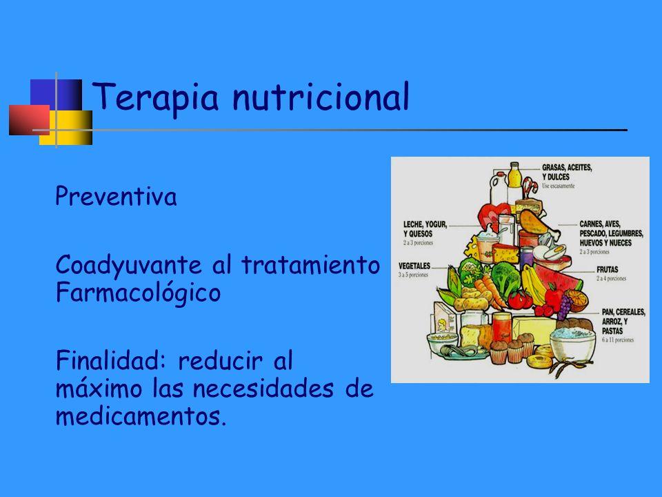 Terapia nutricional Preventiva Coadyuvante al tratamiento Farmacológico Finalidad: reducir al máximo las necesidades de medicamentos.