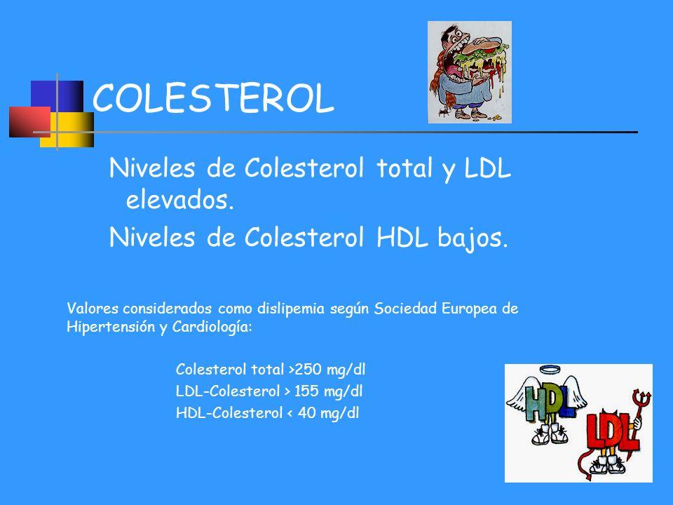 COLESTEROL Niveles de Colesterol total y LDL elevados. Niveles de Colesterol HDL bajos. Valores considerados como dislipemia según Sociedad Europea de
