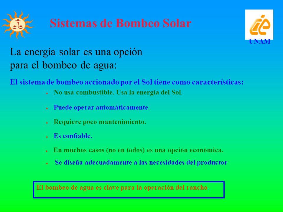 Sistemas de Bombeo Solar UNAM El bombeo de agua es clave para la operación del rancho. La energía solar es una opción para el bombeo de agua: El siste