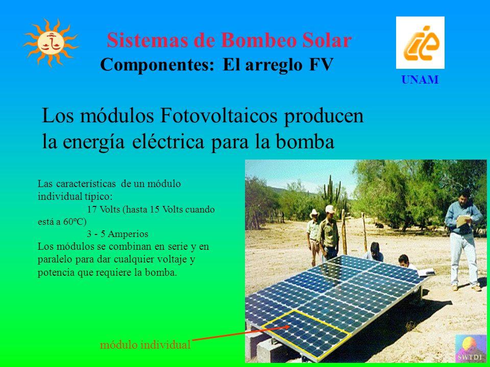 Sistemas de Bombeo Solar Componentes: El arreglo FV UNAM Los módulos Fotovoltaicos producen la energía eléctrica para la bomba Las características de