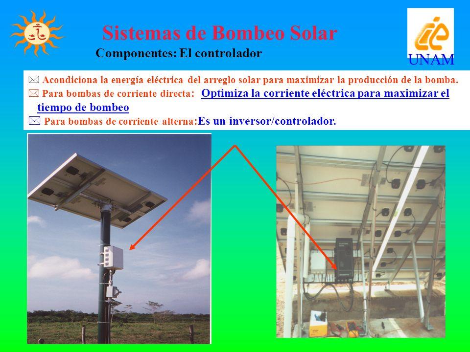 Sistemas de Bombeo Solar Componentes: El controlador UNAM * Acondiciona la energía eléctrica del arreglo solar para maximizar la producción de la bomb