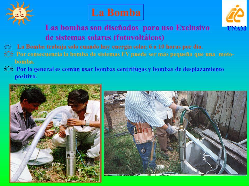 UNAM Las bombas son diseñadas para uso Exclusivo de sistemas solares (fotovoltáicos) La Bomba trabaja solo cuando hay energía solar, 6 a 10 horas por