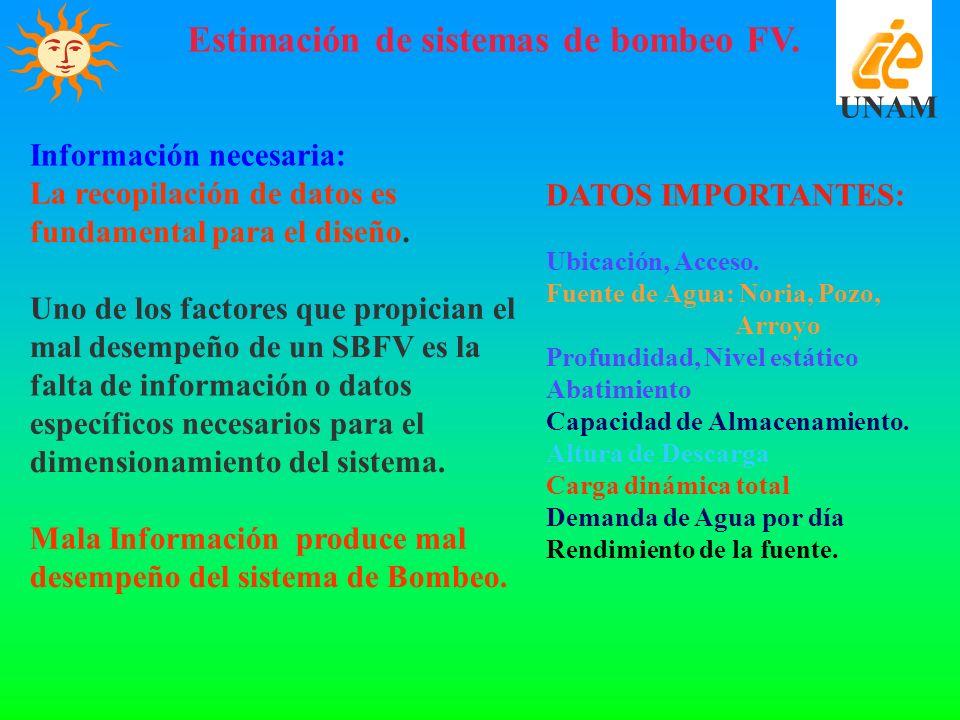 Estimación de sistemas de bombeo FV. UNAM Información necesaria: La recopilación de datos es fundamental para el diseño. Uno de los factores que propi