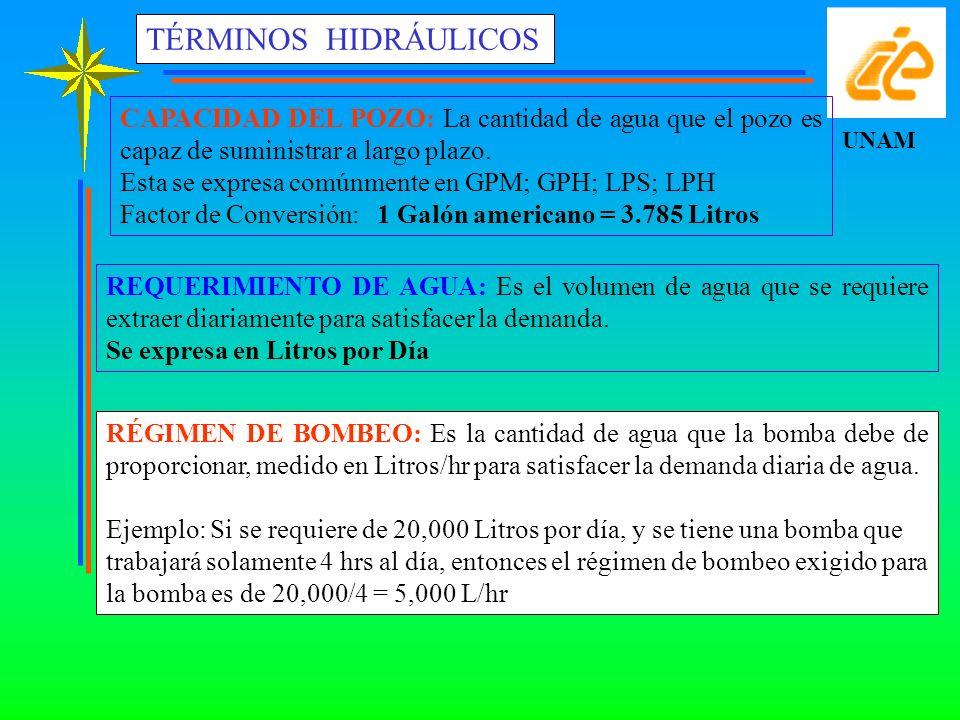 UNAM TÉRMINOS HIDRÁULICOS RÉGIMEN DE BOMBEO: Es la cantidad de agua que la bomba debe de proporcionar, medido en Litros/hr para satisfacer la demanda