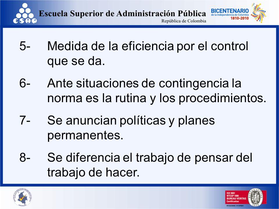 5-Medida de la eficiencia por el control que se da. 6-Ante situaciones de contingencia la norma es la rutina y los procedimientos. 7-Se anuncian polít