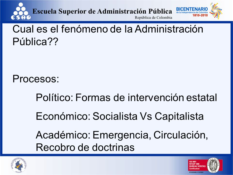 Cual es el fenómeno de la Administración Pública?? Procesos: Político: Formas de intervención estatal Económico: Socialista Vs Capitalista Académico: