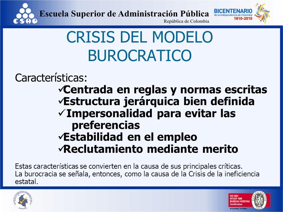 CRISIS DEL MODELO BUROCRATICO Características: Centrada en reglas y normas escritas Estructura jerárquica bien definida Impersonalidad para evitar las