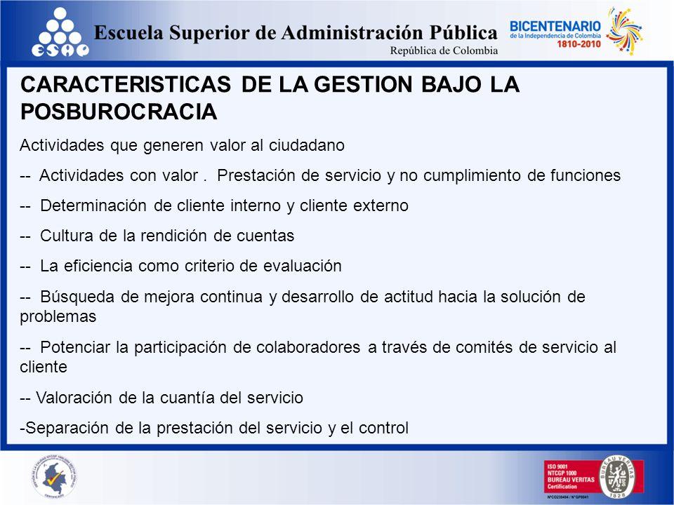 CARACTERISTICAS DE LA GESTION BAJO LA POSBUROCRACIA Actividades que generen valor al ciudadano -- Actividades con valor. Prestación de servicio y no c