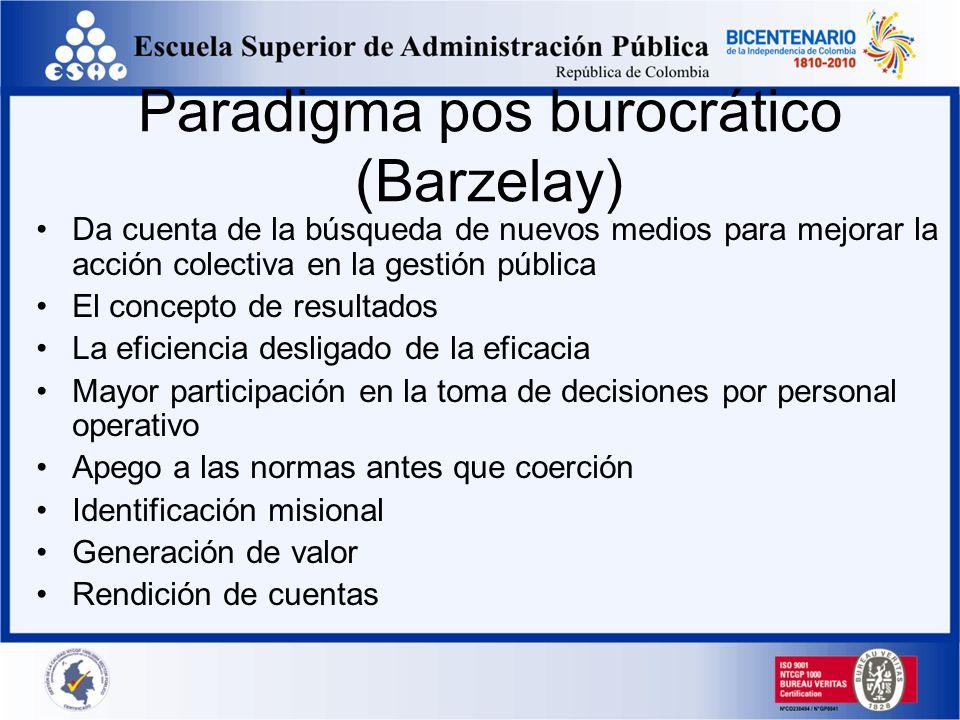 Paradigma pos burocrático (Barzelay) Da cuenta de la búsqueda de nuevos medios para mejorar la acción colectiva en la gestión pública El concepto de r