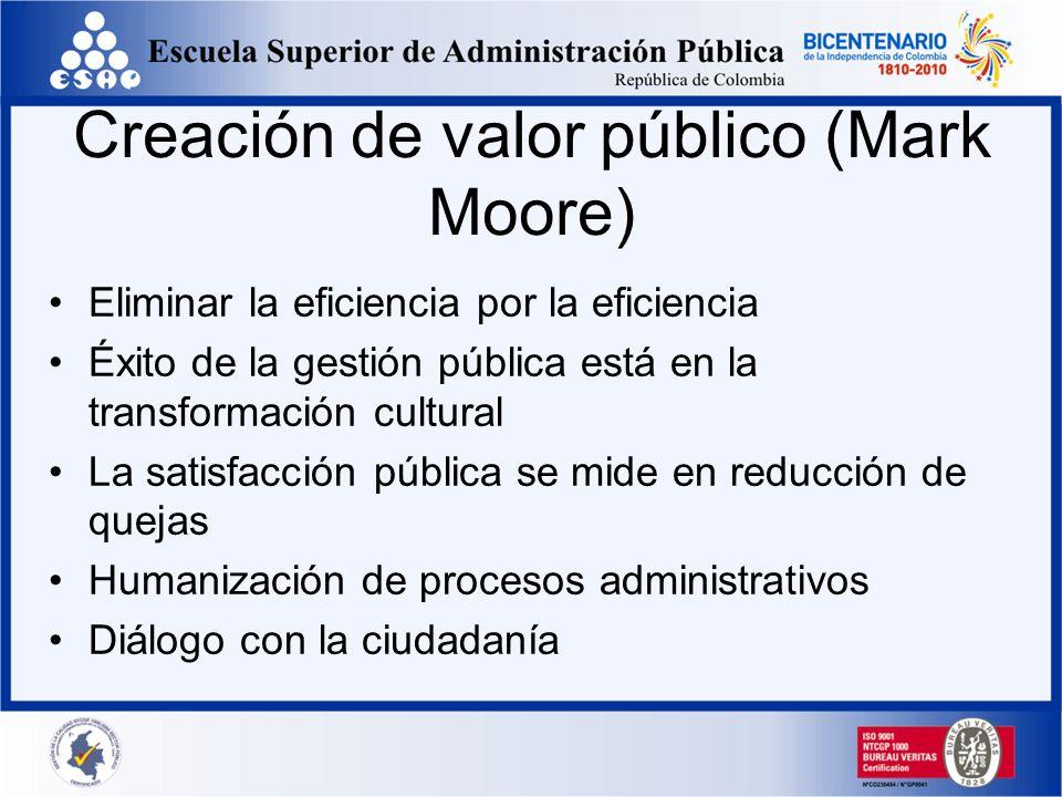 Creación de valor público (Mark Moore) Eliminar la eficiencia por la eficiencia Éxito de la gestión pública está en la transformación cultural La sati
