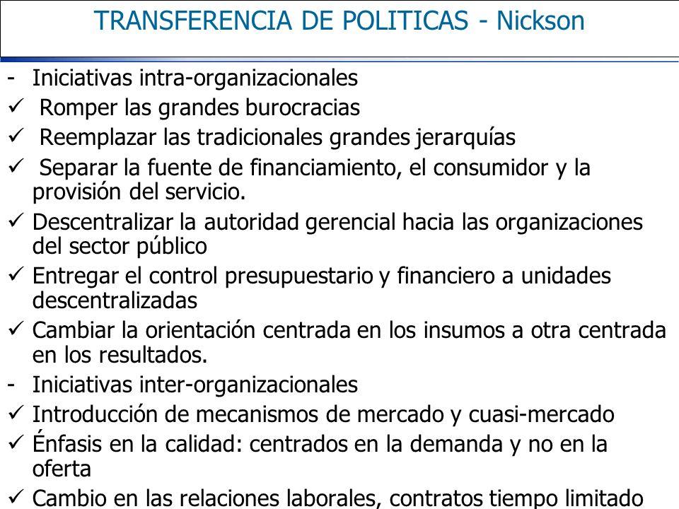 TRANSFERENCIA DE POLITICAS - Nickson -Iniciativas intra-organizacionales Romper las grandes burocracias Reemplazar las tradicionales grandes jerarquía