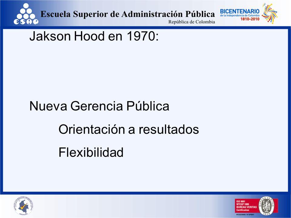 Jakson Hood en 1970: Nueva Gerencia Pública Orientación a resultados Flexibilidad