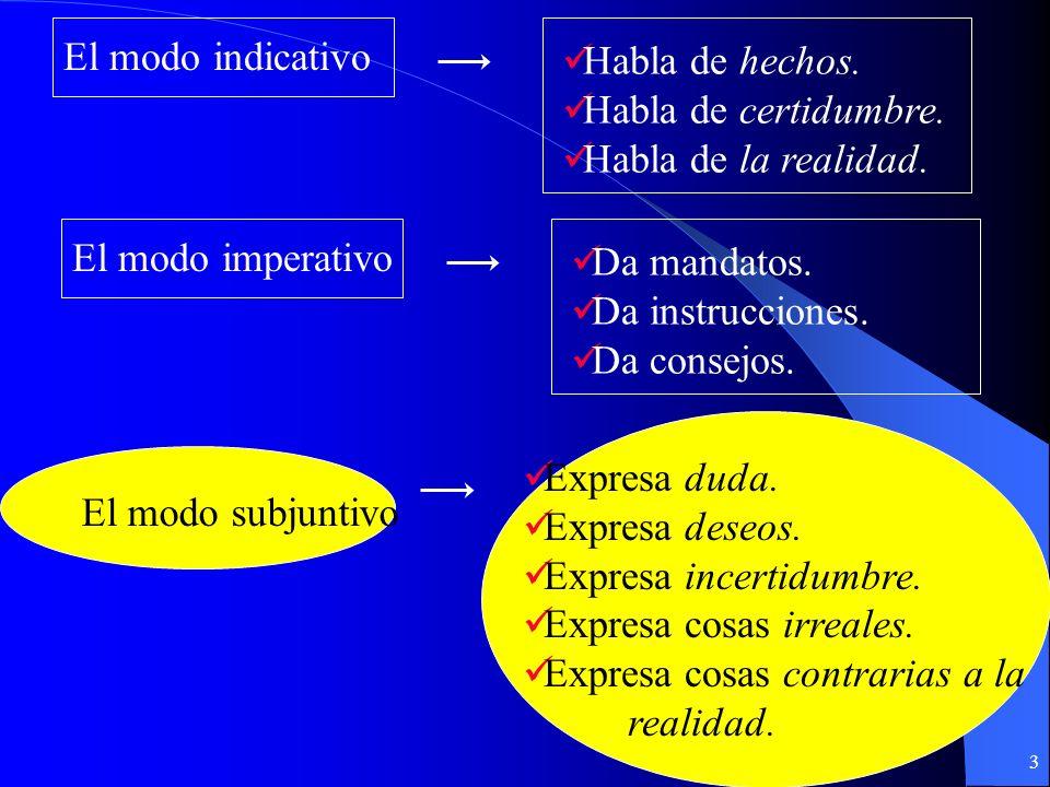 13 Ejemplos del subjuntivo en cláusulas sustantivales Jaime quiere que María lo perdone.