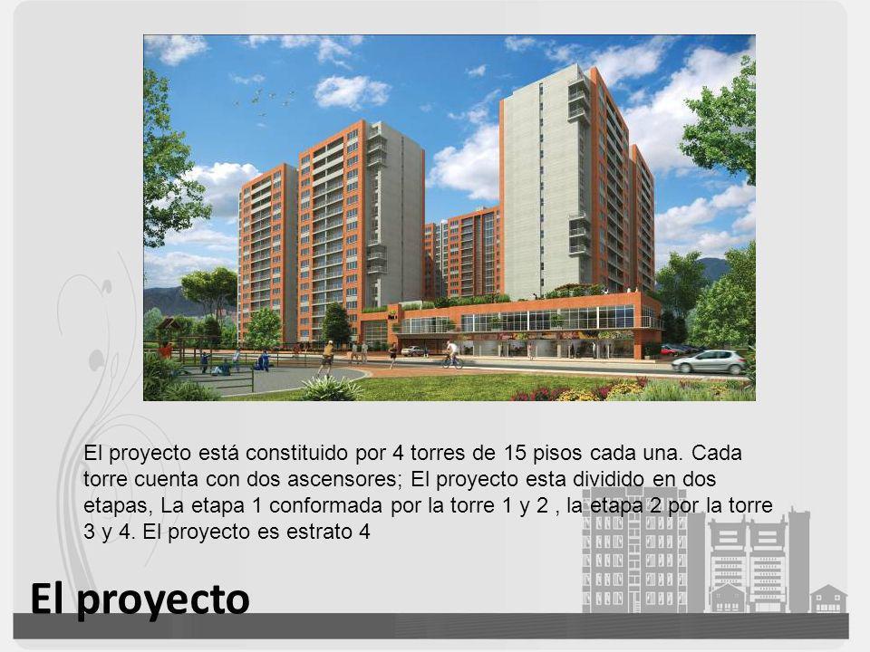 El proyecto El proyecto está constituido por 4 torres de 15 pisos cada una. Cada torre cuenta con dos ascensores; El proyecto esta dividido en dos eta