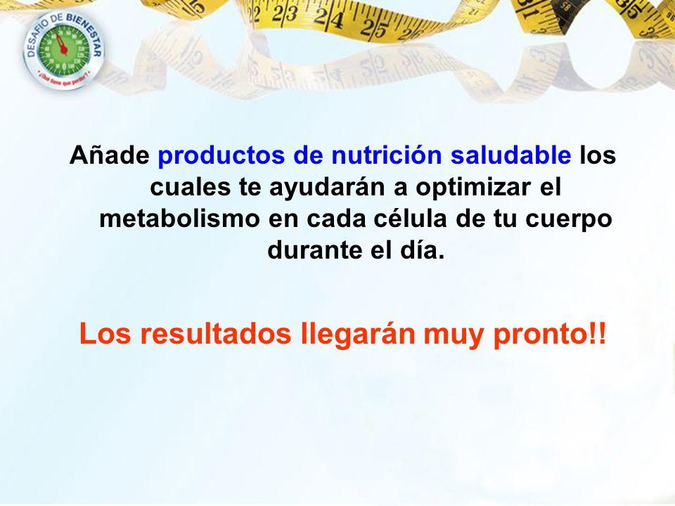 Añade productos de nutrición saludable los cuales te ayudarán a optimizar el metabolismo en cada célula de tu cuerpo durante el día. Los resultados ll