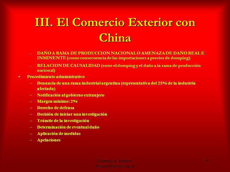 III. El Comercio Exterior con China – DAÑO A RAMA DE PRODUCCION NACIONAL O AMENAZA DE DAÑO REAL E INMINENTE (como consecuencia de las importaciones a