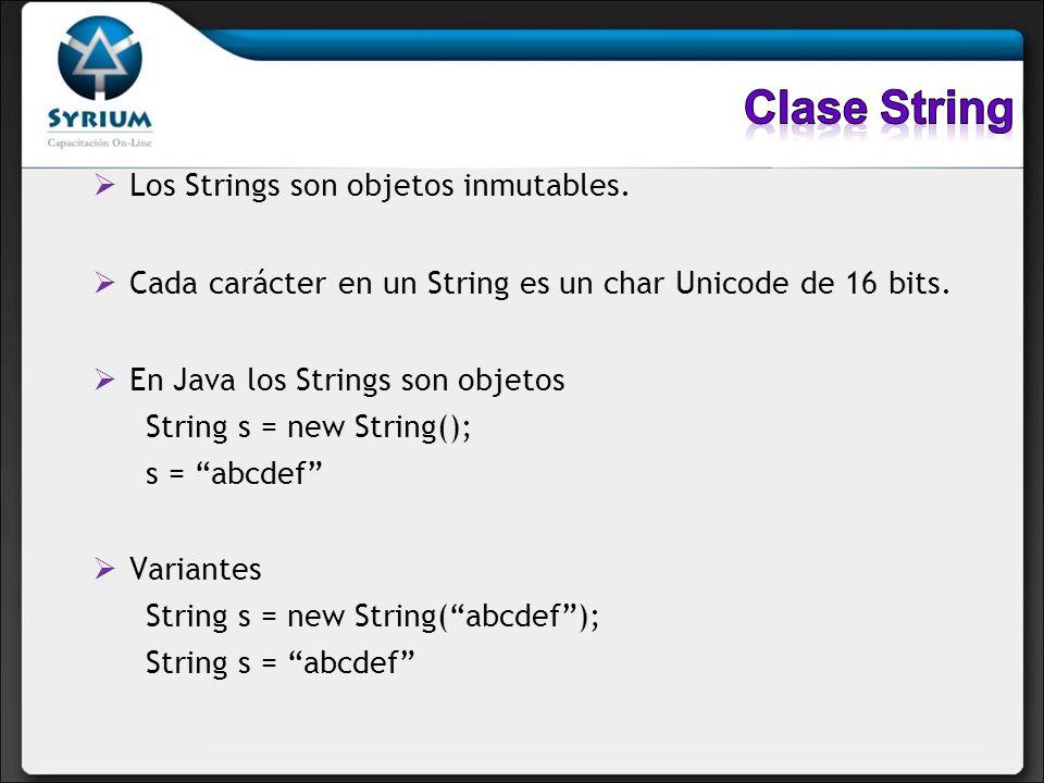 Los Strings son objetos inmutables. Cada carácter en un String es un char Unicode de 16 bits. En Java los Strings son objetos String s = new String();