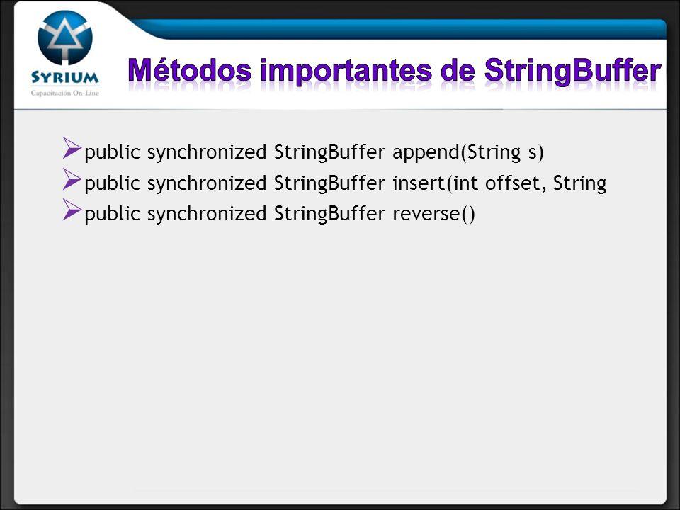 public synchronized StringBuffer append(String s) public synchronized StringBuffer insert(int offset, String public synchronized StringBuffer reverse(