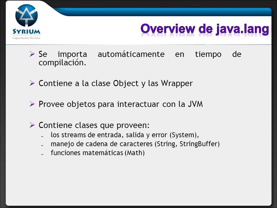 Se importa automáticamente en tiempo de compilación. Contiene a la clase Object y las Wrapper Provee objetos para interactuar con la JVM Contiene clas