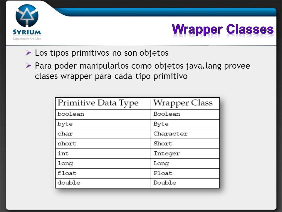 Todas las clases Wrapper son inmutables (su estado no puede cambiar) Adicionalmente definen constantes útiles
