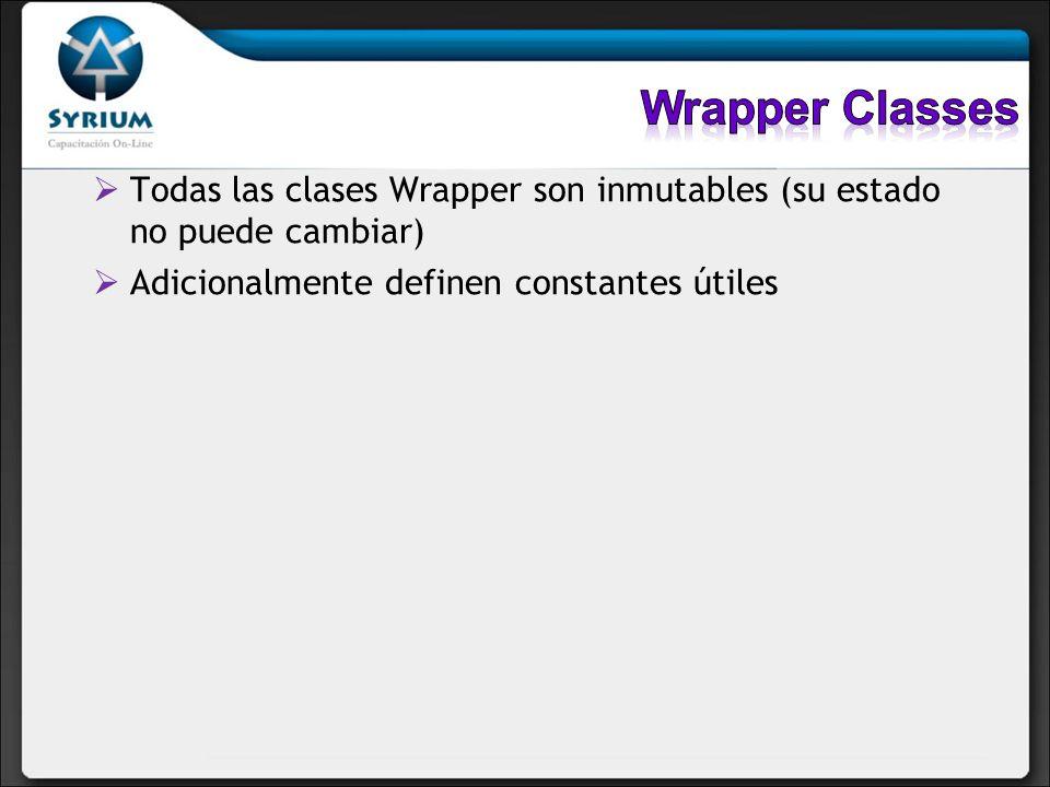 Todas las clases wrapper a excepción de Character tienen 2 constructores: Uno que recibe el tipo primitivo que se quiere construir Otro que recibe la representación en String del tipo que se quiere construir Integer i1 = new Integer(42); Integer i2 = new Integer( 42 ); o Float f1 = new Float(3.14f); Float f2 = new Float( 3.14f );